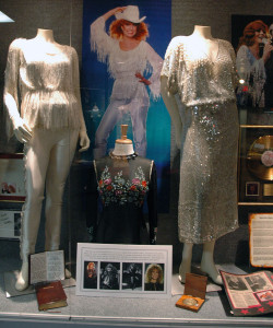 Photograph of the personal artifacts that belonged to the great Dottie West on display at the Willie Nelson and Friends Museum.
