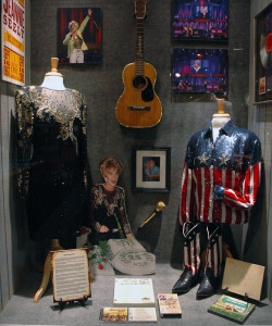 Photograph of Grand Ole Opry star Jeannie Seely and her exhibit on display at the Willie Nelson and Friends Museum in Nashville, TN.