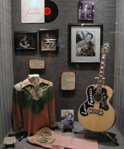 Photograph of some of the personal memorabilia from the great Lefty Frizzell on display at the Willie nelson and Friends Museum.
