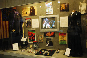 Photograph of Marty Stuart and Connie Smith exhibit on display - Clothes and other artifacts belonging to Marty Stuart and Connie Smith at the Willie Nelson and Friends Museum in Nashville, TN..