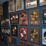 One of our exhibits on display - A sampling of some of Willie Nelson's Gold, Silver and Platinum albums.
