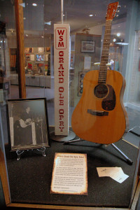 Willie Nelson's first Martin guitar used on his Grand Ole Opry debut in November of 1963 on display at the Willie Nelson and Friends Museum.