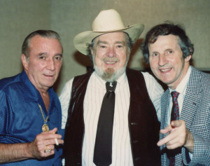 Photograph of Faron Young, bluegrass legend Mac Wiseman and Faron's Young's long time booking agent Billy Deaton.