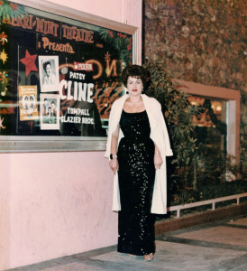 A photo of the great Patsy Cline standing in front of the Merrimint Theatre in Las Vegas where she performed along with the TomPall Glazier Brothers.