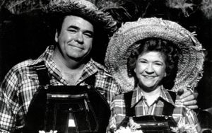A photograph of Mae Axton and son, Hoyt on the Hee Haw TV show.