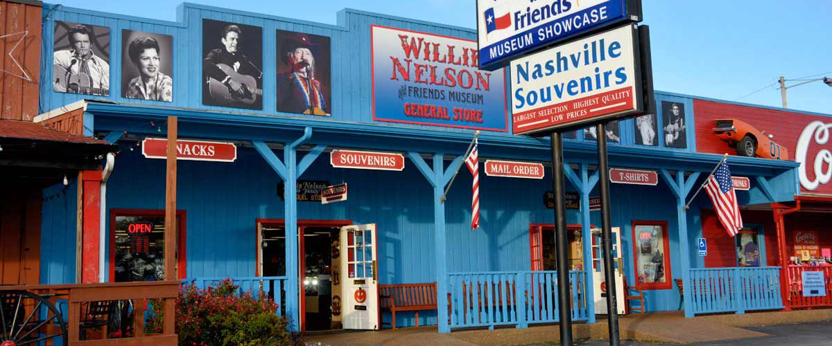 Storefront photo of the Willie Nelson and Friends Museum in Nashville, TN.