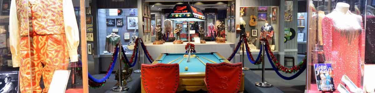 Photograph of the inside view of a portion of the Willie Nelson and Friends Museum in Nashville, TN.